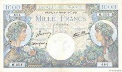 1000 Francs COMMERCE ET INDUSTRIE FRANCE  1941 F.39.04 TTB
