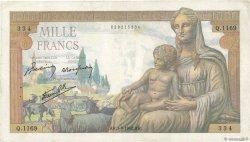 1000 Francs DÉESSE DÉMÉTER FRANCE  1942 F.40.06 TB