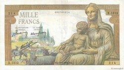 1000 Francs DÉESSE DÉMÉTER FRANCE  1942 F.40.06 TTB