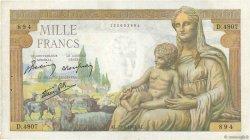 1000 Francs DÉESSE DÉMÉTER FRANCE  1943 F.40.22 pr.TTB