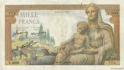 1000 Francs DÉESSE DÉMÉTER FRANCE  1943 F.40.22 TB