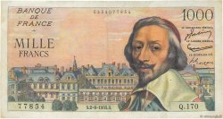 1000 Francs RICHELIEU FRANCE  1955 F.42.14 pr.TTB