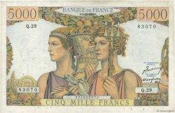 5000 Francs TERRE ET MER FRANCE  1949 F.48.02 pr.TTB