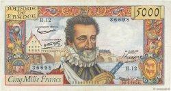 5000 Francs HENRI IV FRANCE  1957 F.49.02 TB+