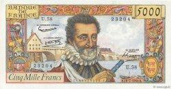 5000 Francs HENRI IV FRANCE  1958 F.49.07 SPL