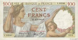100 Francs SULLY FRANCE  1942 F.26.70 TTB