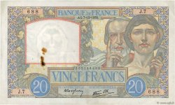 20 Francs SCIENCE ET TRAVAIL FRANCE  1939 F.12.01 TTB