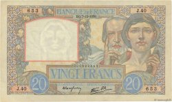 20 Francs SCIENCE ET TRAVAIL FRANCE  1939 F.12.01 TTB+