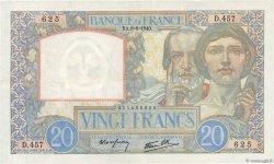 20 Francs SCIENCE ET TRAVAIL FRANCE  1940 F.12.03 SUP