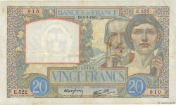 20 Francs SCIENCE ET TRAVAIL FRANCE  1940 F.12.03 TTB+