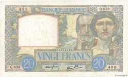 20 Francs SCIENCE ET TRAVAIL FRANCE  1940 F.12.05 TTB