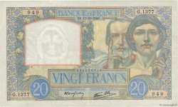 20 Francs SCIENCE ET TRAVAIL FRANCE  1940 F.12.09 TTB