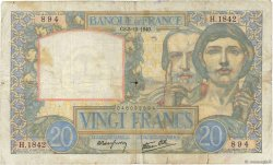 20 Francs SCIENCE ET TRAVAIL FRANCE  1940 F.12.10 B