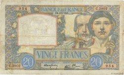 20 Francs SCIENCE ET TRAVAIL FRANCE  1941 F.12.14 TB
