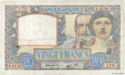 20 Francs SCIENCE ET TRAVAIL FRANCE  1941 F.12.14 TTB
