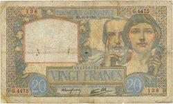 20 Francs SCIENCE ET TRAVAIL FRANCE  1941 F.12.15 B