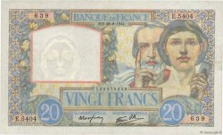 20 Francs SCIENCE ET TRAVAIL FRANCE  1941 F.12.17 TTB+