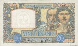 20 Francs SCIENCE ET TRAVAIL FRANCE  1941 F.12.19 TTB+