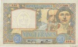 20 Francs SCIENCE ET TRAVAIL FRANCE  1942 F.12.21 SUP