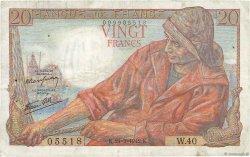 20 Francs PÊCHEUR FRANCE  1942 F.13.03 TB+