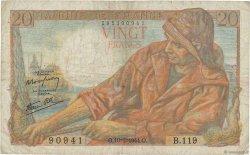 20 Francs PÊCHEUR FRANCE  1944 F.13.08 pr.TB