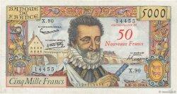 50 NF sur 5000 Francs HENRI IV FRANCE  1958 F.54.01 TTB