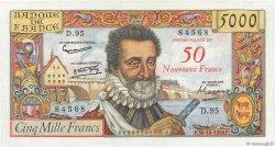 50 NF sur 5000 Francs HENRI IV FRANCE  1958 F.54.01 TTB+