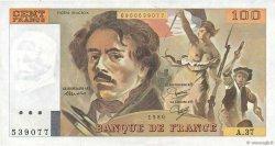 100 Francs DELACROIX modifié FRANCE  1980 F.69.04b SUP