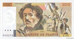 100 Francs DELACROIX imprimé en continu FRANCE  1991 F.69bis.03b1 SUP