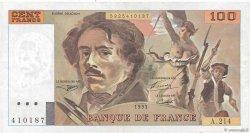 100 Francs DELACROIX imprimé en continu FRANCE  1993 F.69bis.05 TTB+