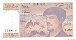 20 Francs DEBUSSY à fil de sécurité FRANCE  1992 F.66bis.03 SPL