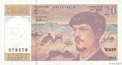 20 Francs DEBUSSY à fil de sécurité FRANCE  1993 F.66bis.04 pr.SPL