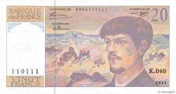 20 Francs DEBUSSY à fil de sécurité FRANCE  1993 F.66bis.04 pr.NEUF
