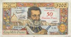 50 NF sur 5000 Francs HENRI IV FRANCE  1958 F.54.01 TB+