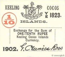 1/10 Rupee ÎLES KEELING COCOS  1902 PS.123 TTB à SUP