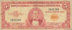 5 Pesos Oro RÉPUBLIQUE DOMINICAINE  1962 P.092a B