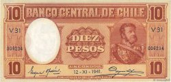 10 Pesos - 1 Condor CHILI  1941 P.092d SPL