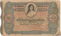 20 Pesos - 2 Doblones URUGUAY  1871 PS.292 B