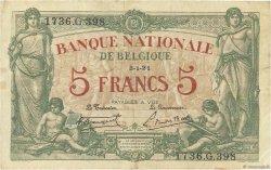 5 Francs BELGIQUE  1921 P.075b TB+