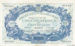 500 Francs BELGIQUE  1934 P.103a TTB
