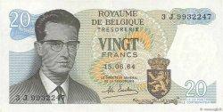 20 Francs BELGIQUE  1964 P.138 pr.SUP