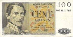 100 Francs BELGIQUE  1958 P.129c TTB+