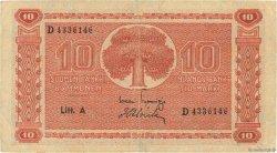10 Markkaa FINLANDE  1945 P.077a TB+