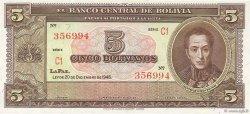 5 Bolivianos BOLIVIE  1945 P.138r pr.NEUF