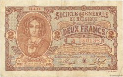 2 Francs BELGIQUE  1915 P.087 TB+