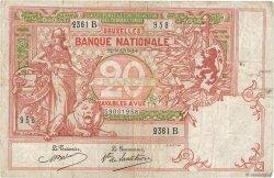 20 Francs BELGIQUE  1914 P.067 TB