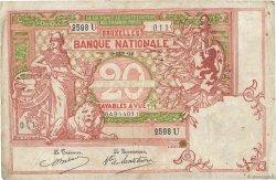 20 Francs BELGIQUE  1914 P.067 TB+