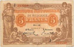 5 Francs BELGIQUE  1919 P.074b TB+