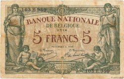 5 Francs BELGIQUE  1914 P.075a B