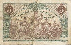 5 Francs BELGIQUE  1914 P.075a TB